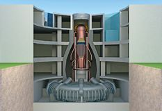 Nuclear reactor in section. Cutaway. 3d rendering Stock Image