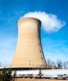 Nuclear reactor tower at the Northern Indiana Public Service Company. `s Michigan City, Indiana`s generating station stock image