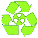 Nuclear Recycling. Recycling nuclear waste green symbolic icon isolated over white background Royalty Free Stock Photography