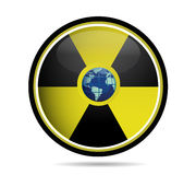 Nuclear sign with earth globe Royalty Free Stock Image