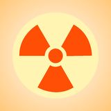 Nuclear sign representing the danger of radiation. Nuclear  symbol, caution  radioactivity, sign  hazard, background, polution Royalty Free Stock Photography