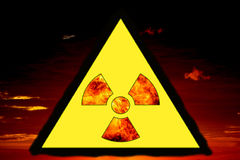 Nuclear sign representing the danger of radiation,Warning sign Royalty Free Stock Photography