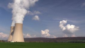 Nuclear station against a blue sky stock video footage