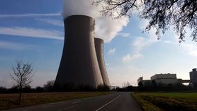 Nuclear station against the sky stock footage