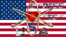 Nuclear stress test usa symbol letters collages royalty free stock image