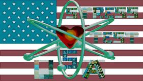 Nuclear stress test usa symbol letters collages stock image