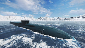 Nuclear submarine at northern waters Stock Photography