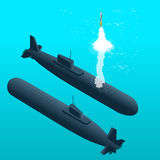 Nuclear submarine traveling underwater.Nuclear powered submarines. Flat 3d isometric vector illustration for infographic Royalty Free Stock Photos