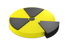 Nuclear symbol. One 3d render of a nuclear symbol resembling a pie chart Stock Images