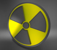Nuclear symbol on black background Royalty Free Stock Photos