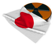 Nuclear symbol and flag of japan Stock Photos