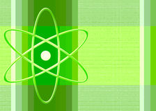 Nuclear symbol in green. The nuclear symbol in green on a green striped background Stock Photos