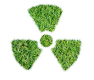 Nuclear symbol green grass isolated Royalty Free Stock Photo