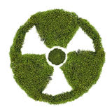 Nuclear symbol from green moss on white Stock Photography