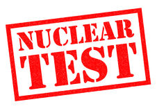 NUCLEAR TEST. Red Rubber Stamp over a white background Royalty Free Stock Photography