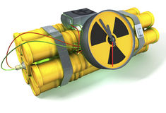 Nuclear time bomb with a light green glow vector illustration