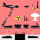 Nuclear war alert. Military capabilities in a nuclear war stock illustration