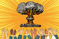 Nuclear war applause from the audience. Vintage pop art retro illustration royalty free illustration