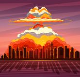Nuclear explosion, atom bomb falling on big city Royalty Free Stock Photos