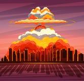 Nuclear explosion, atom bomb falling on big city. Nuclear war, atom bomb falling on big city. Vector illustration Royalty Free Stock Photos