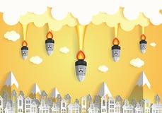 Nuclear war - atom bombs falling on the city Stock Photos