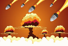 Nuclear war - atom bombs falling on the city Stock Photos