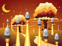 Nuclear war - atom bombs falling. Paper art style Stock Photography