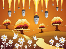 Nuclear war - atom bombs falling,paper art style. Vector Royalty Free Stock Photo