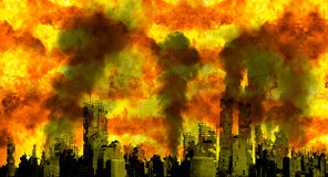 Nuclear War Burning City Apocalypse. Nuclear war, burning city, world apocalypse. It's the end of the world, humanity, and mankind Royalty Free Stock Photos