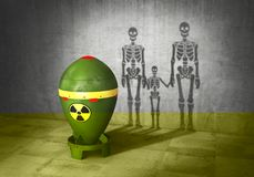 Nuclear war concept. Nuclear bomb cast shadow in form of skeletons family. 3d. Illustration Royalty Free Stock Images