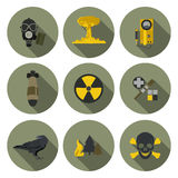 Nuclear war flat icons Royalty Free Stock Image