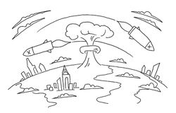 Nuclear war hand-drawn sketch. Nuclear weapons. Bombs of a rocket fly over the planet. Hand drawn vector stock. Nuclear war hand-drawn sketch. Nuclear weapons Stock Photo