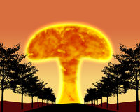 Nuclear war with mushroom cloud Stock Image