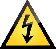 Nuclear Warning. Warning Yellow Sign for Electrical Danger Stock Photo