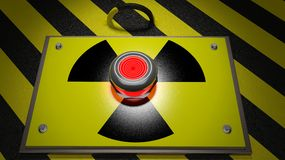 Nuclear warning sign with red button Stock Photo