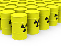 The nuclear waste. 3d generated picture of nuclear waste drums Royalty Free Stock Photo