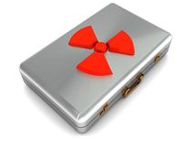 Nuclear weapon control case. 3d illustration of steel case with red nuclear symbol Royalty Free Stock Images