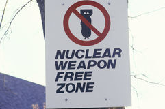 A nuclear weapon free zone sign Stock Image