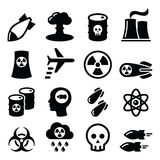 Nuclear weapon, nuclear factory, war, bombs icons set. Nuclear power plant vector icons set isolated on white Royalty Free Stock Photos