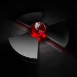 Nuclear world - america. Planet earth (view of america) in the center of a metallic nuclear symbol, red heat stock illustration