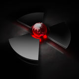 Nuclear world - asia. Planet earth (view of asia) in the center of a metallic nuclear symbol, red heat vector illustration