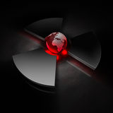 Nuclear world - europe. Planet earth (view of europe) in the center of a metallic nuclear symbol, red heat royalty free illustration
