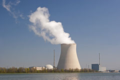Nucleat power. Isar 2 nuclear plant in Ohu located on the Isar Royalty Free Stock Image