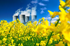 Nucler station in canola field Stock Images