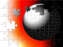 Nucleus Puzzle. A puzzle globe with missing parts coming from left for completion. Blurred backgound Stock Illustration
