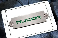 Nucor steel Corporation logo. Logo of Nucor steel on samsung tablet . Nucor Corporation is a producer of steel and related products. It is the largest steel Royalty Free Stock Photography