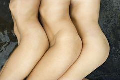 nude τρεις γυναίκες Στοκ Εικόνα