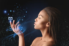 Nude african woman using futurist technology social network Royalty Free Stock Photo