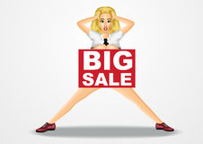 Nude business woman big sale banner Royalty Free Stock Images