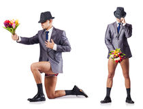 The nude businessman presenting flowers on white Royalty Free Stock Photos